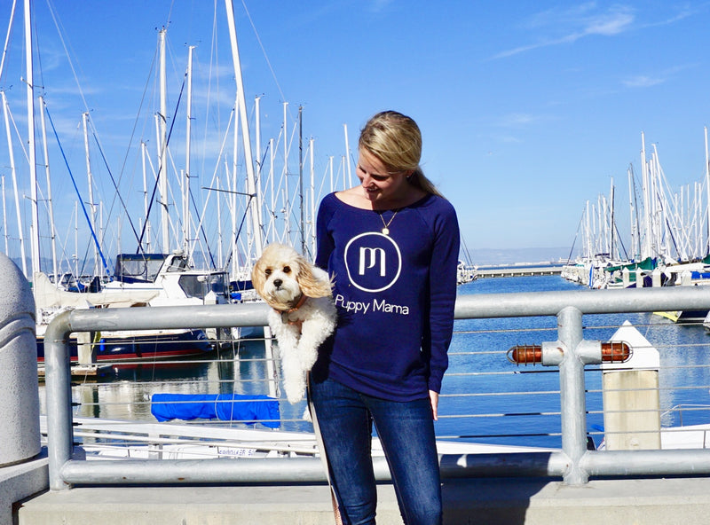 Puppy Mama Stylish Sweatshirt - Navy Wide Neck - Shop dog mom apparel and doodle mom gifts online!
