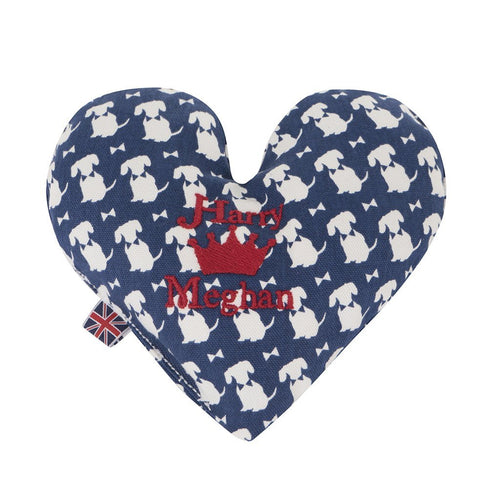 Harry & Meghan Heart Toy Cushion - Navy