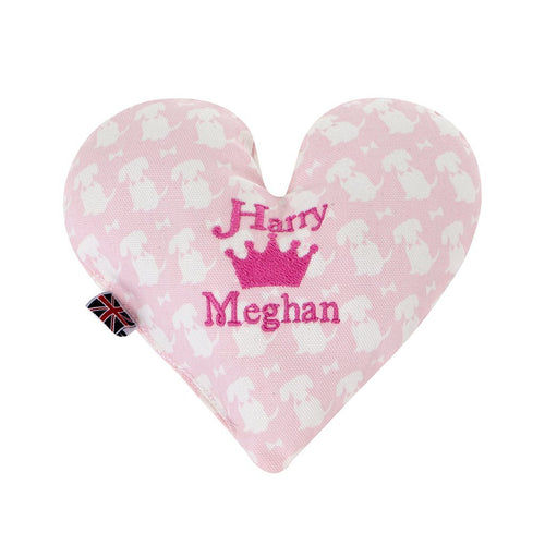 Harry & Meghan Love Heart Toy Cushion - Pink
