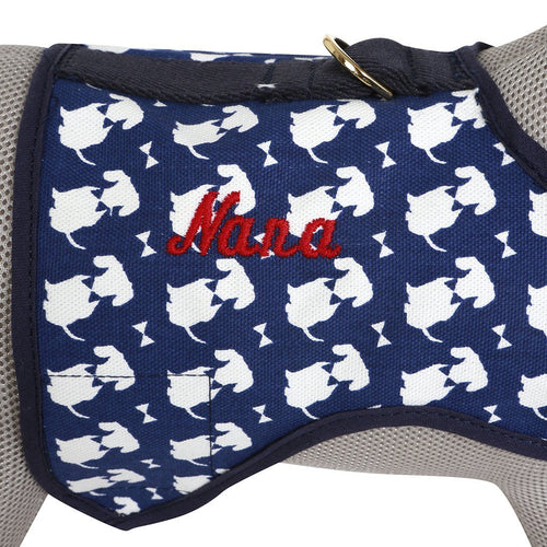 Navy Signature Print Dog Harness