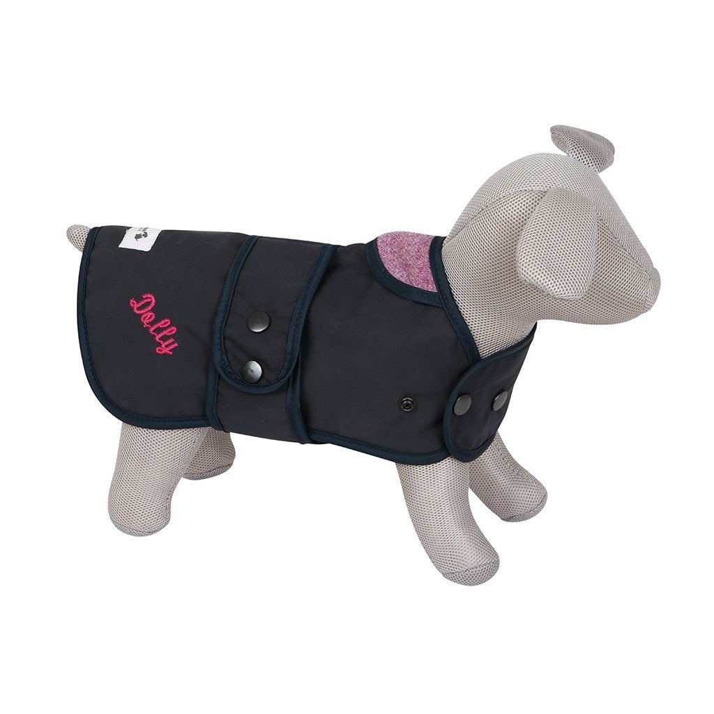 Navy Dog Coat with Shetland Pink Liner