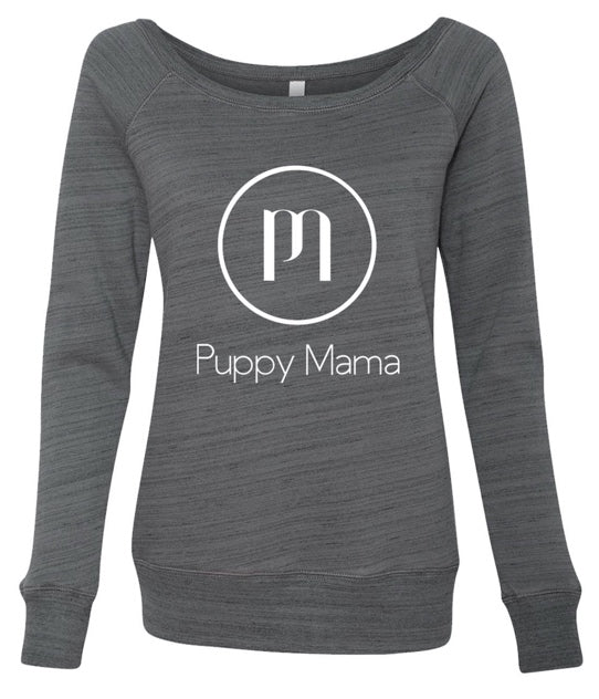 Puppy Mama Stylish Sweatshirt - Marble Grey Scoop Neck - Shop dog mom apparel and doodle mom gifts online!