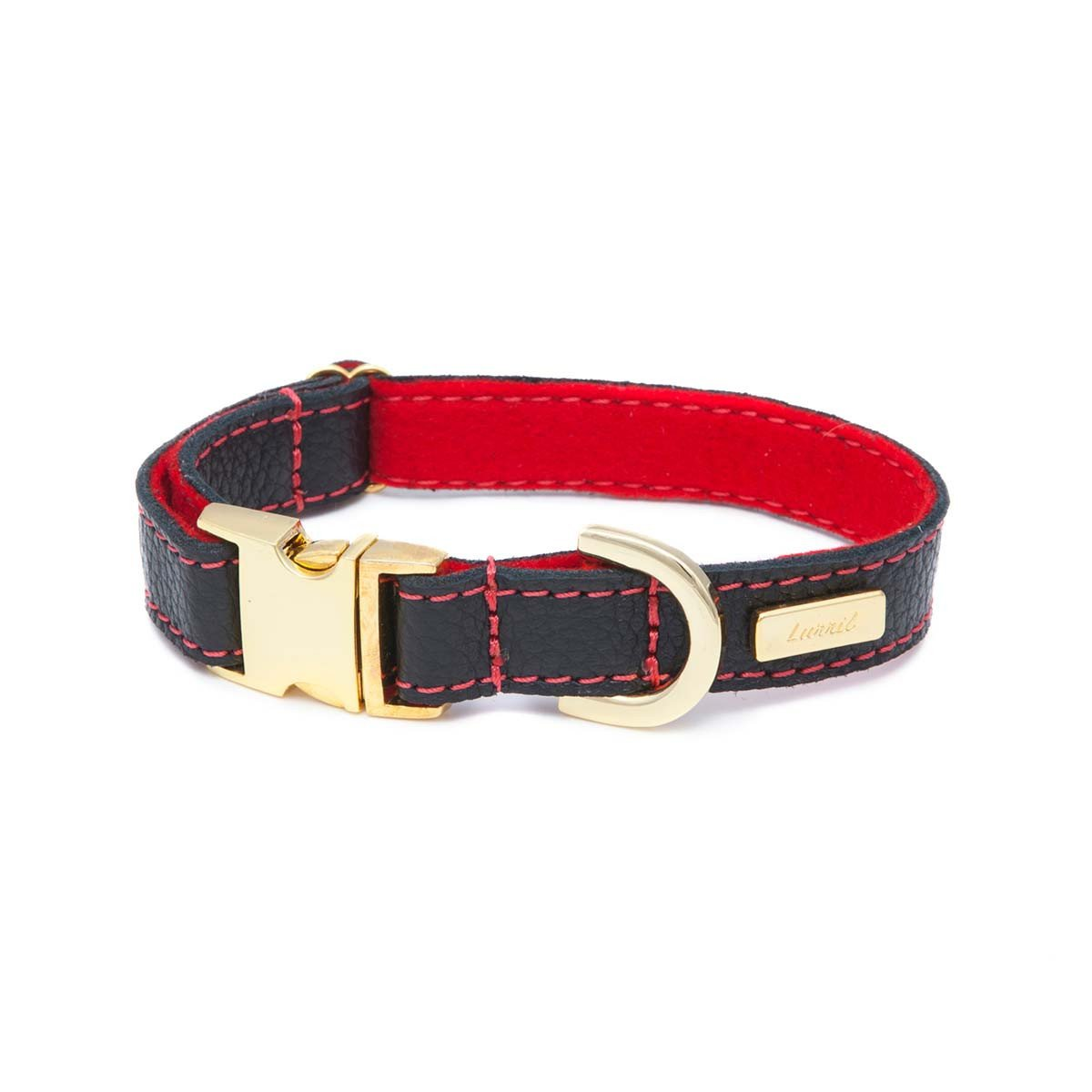 Black Leather Dog Collar for your Dalmatian - Durable & Soft Leather and Soft Wool Lining