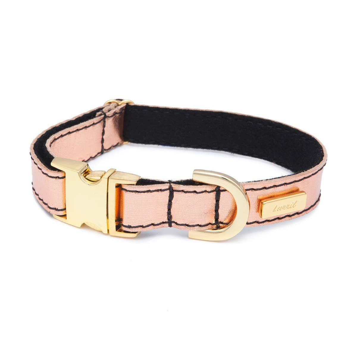 Rose Gold Soft Leather Dog Collar with Wool Felt Lining