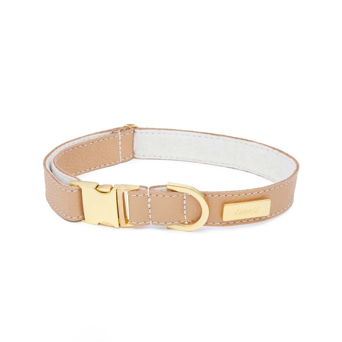 Tan Soft Leather Dog Collar with Wool Felt Lining