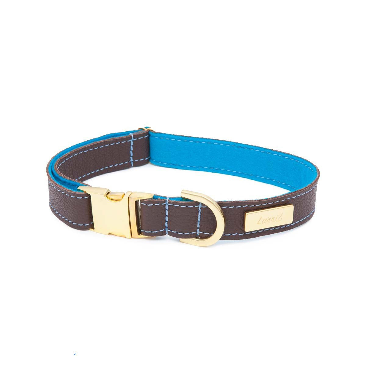 Brown Soft Leather Dog Collar with Soft Wool Lining