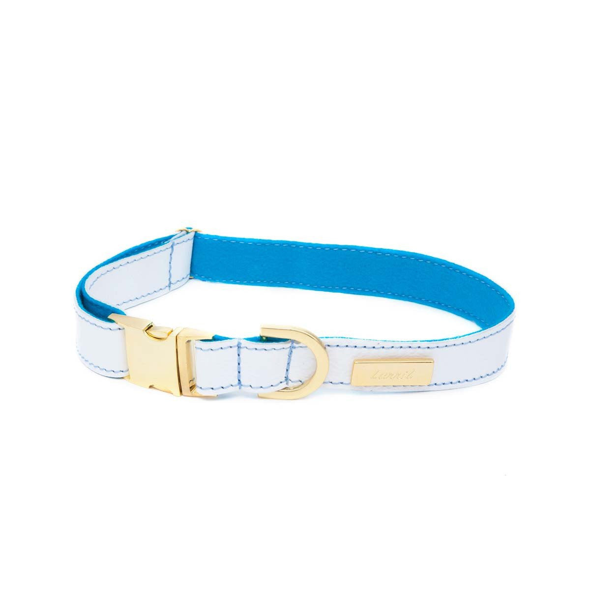 White Soft Leather Dog Collar with Wool Lining
