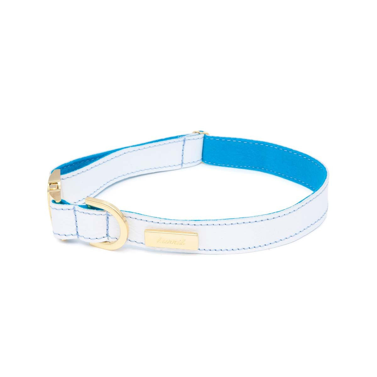 German Shepherd Dog Collar - Durable, Soft White Leather with Soft Wool Lining