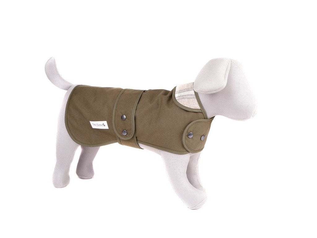 Olive Wool Waxed Dog Coat