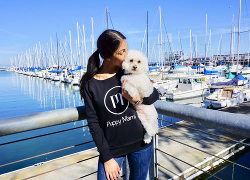 Puppy Mama Stylish Sweatshirt - Black Scoop Neck (Available Today)