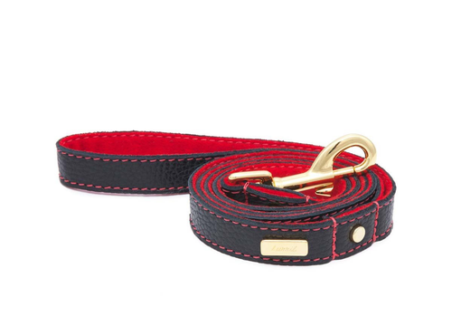 Black Leather Dog Leash  - Soft, Durable Leather and Soft Wool Lining