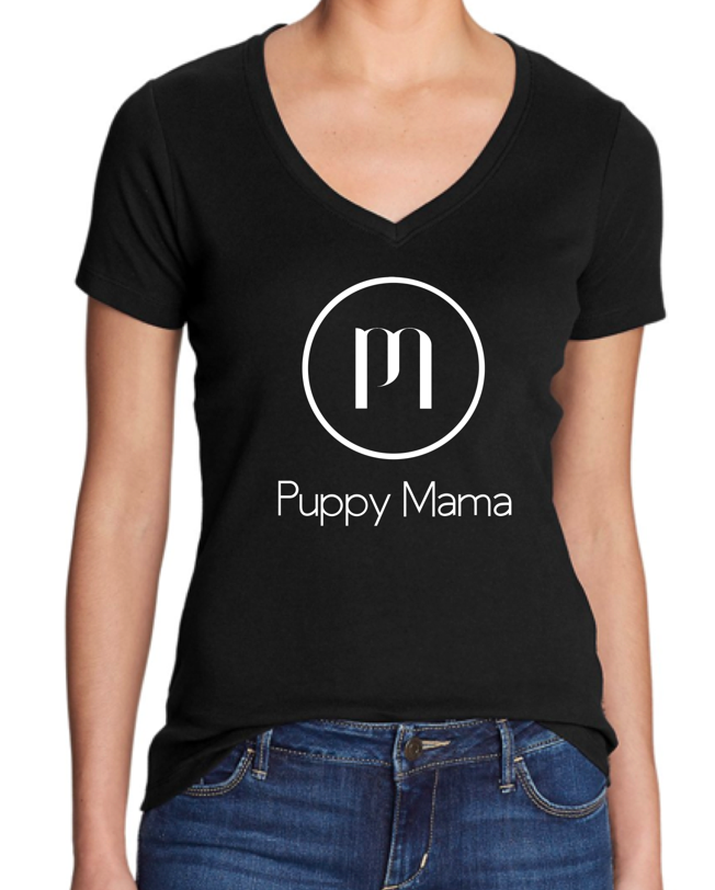 Puppy Mama Short Sleeve Black V-Neck Tee (Wholesale Order) - Shop dog mom apparel and doodle mom gifts online!