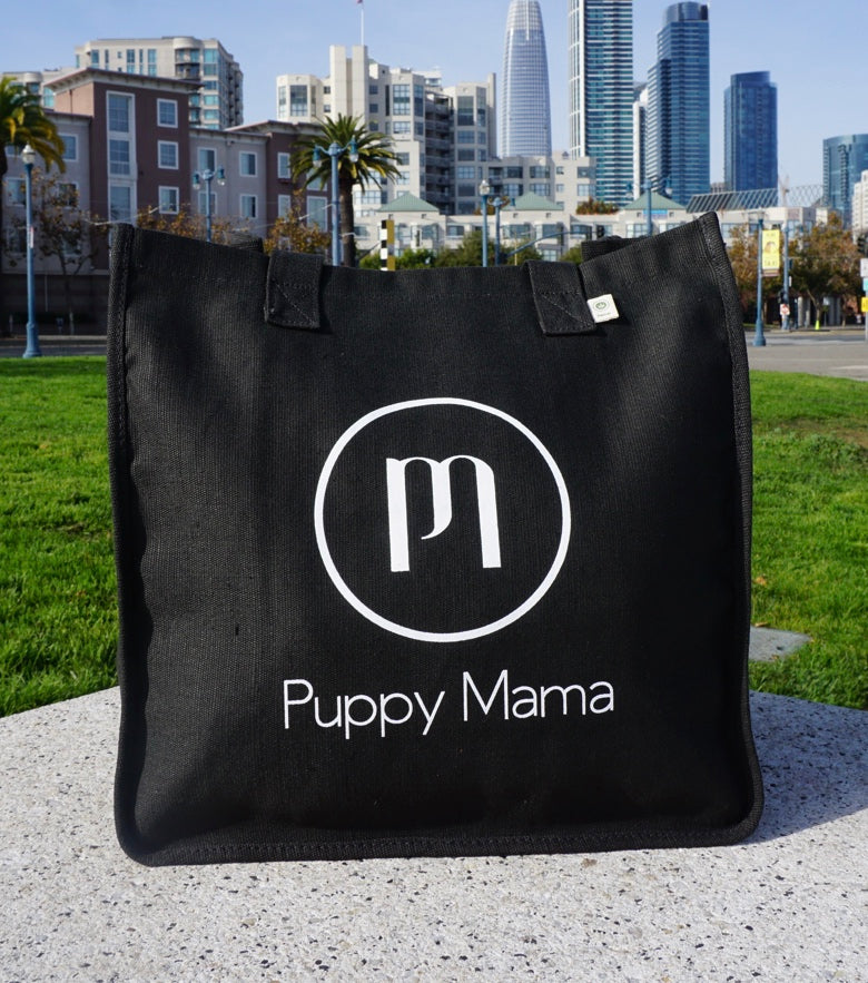 Black econscious Stylish Puppy Mama Tote Bag (Wholesale Order) - Shop dog mom apparel and doodle mom gifts online!