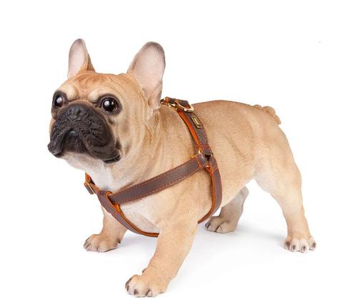 Brown Soft Leather Dog Harness with Soft Wool Lining
