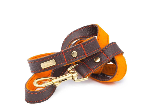Brown Soft Leather Dog Leash with Soft Wool Lining