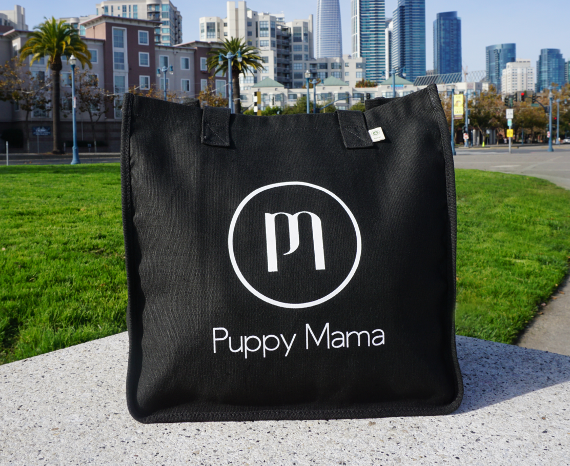 Black econscious Stylish Puppy Mama Tote Bag