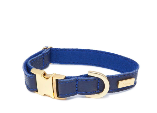 Dog Collar, Leash & Harness in Navy Blue Soft Leather