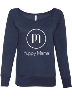 Puppy Mama Stylish Sweatshirt - Navy Wide Neck (Wholesale Only)