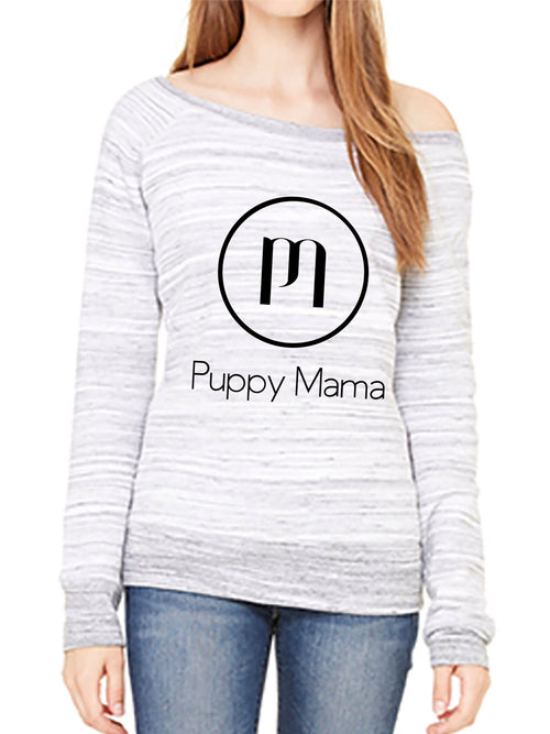 Puppy Mama Stylish Wide Neck Sweatshirt - Light Marble Grey (Wholesale Only)