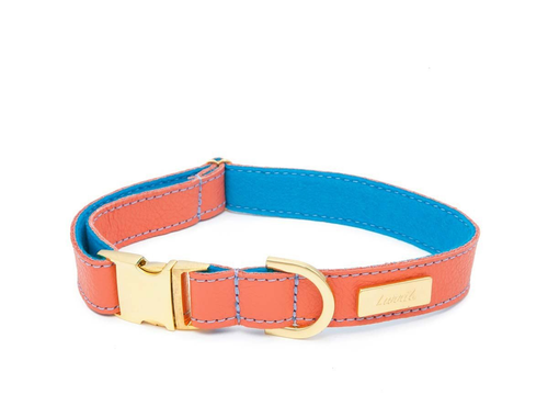 Mandarin Soft Leather Dog Collar with Wool felt