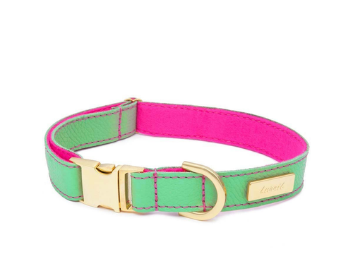 Mint Soft Leather Dog Collar with Wool Lining