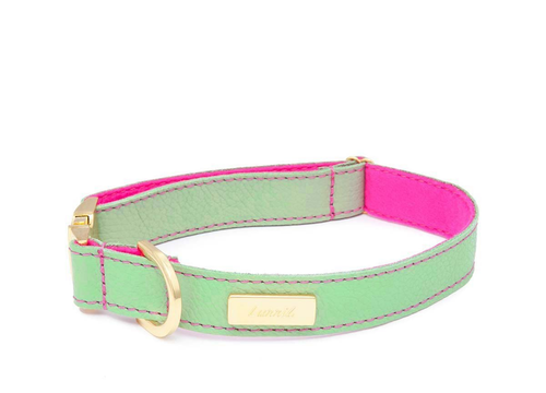 Mint Soft Leather Dog Collar with Wool felt lining