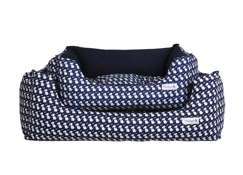 Navy Signature Print Slumber Dog Bed