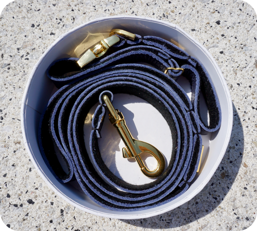 Navy Blue Leather Dog Leash - Soft, Durable Leather and Soft Wool Lining