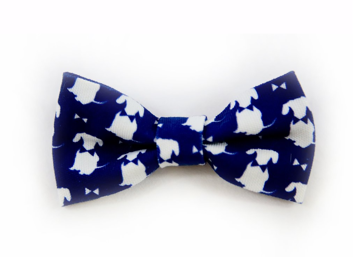 Navy Signature Print Dog Bow Tie