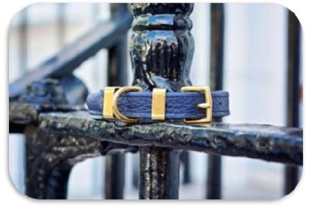 'The Hattie' Rolled Midnight Navy Leather Dog Collar