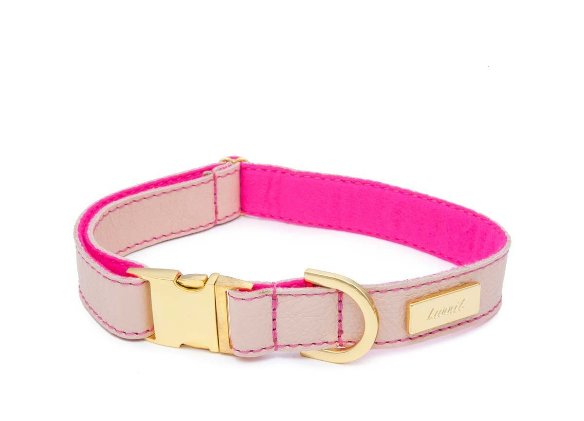 Nude Soft Leather Dog Collar with Wool Lining