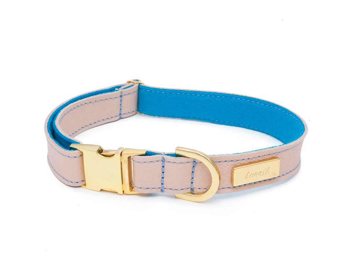 Dog Collar & Leash in Nude Soft Leather