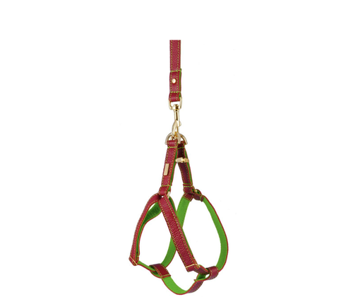 Red Soft Leather Dog Harness with Wool Felt Lining