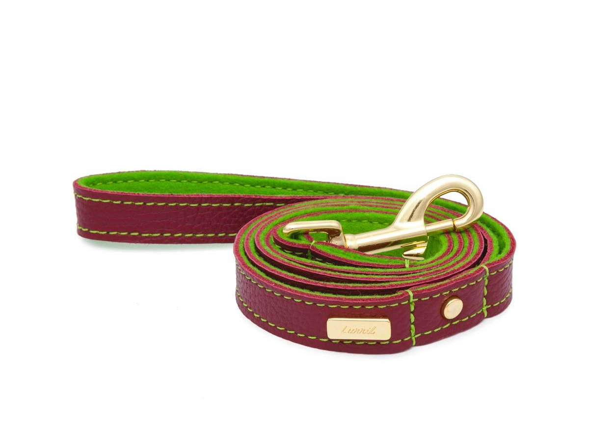 Red Soft Leather Dog Leash with Soft Wool Lining