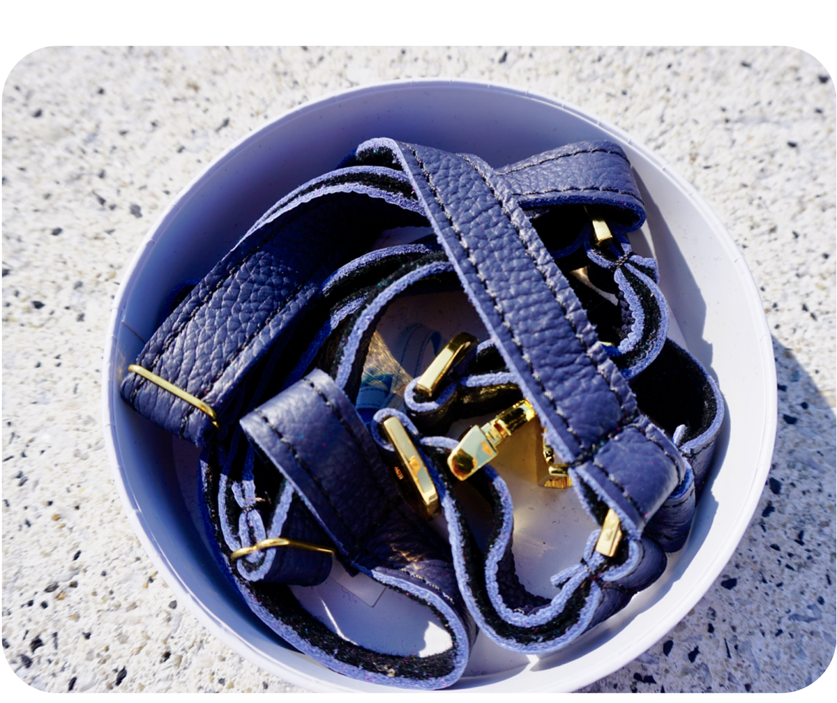 Navy Blue Leather Dog Harness  - Soft, Durable Leather and Soft Wool Lining