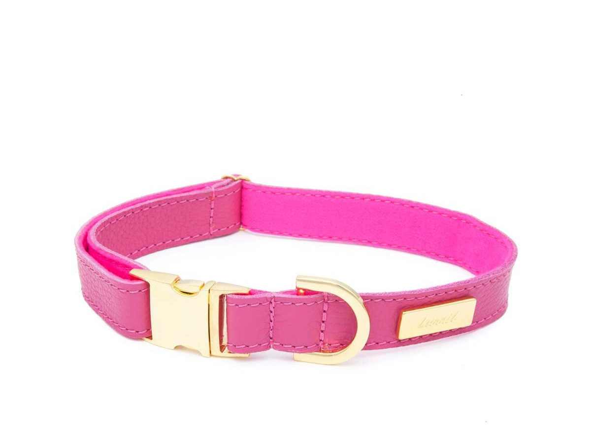 Pink Soft Leather Dog Collar with Soft Wool Lining