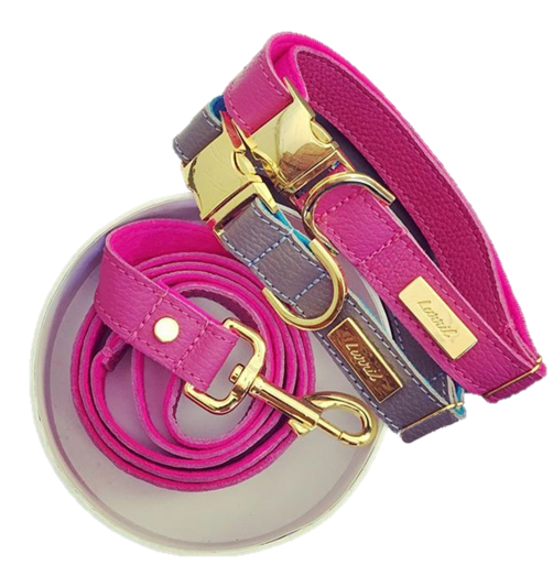 Pink Soft Leather Dog Leash with Soft Wool Lining