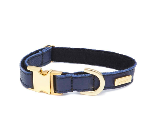Navy Blue Soft Leather Dog Collar - Soft, Durable Leather and Soft Wool Lining