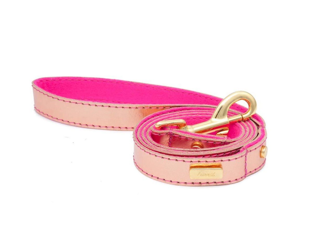Rose Gold Soft Leather Dog Leash with Soft Wool Lining