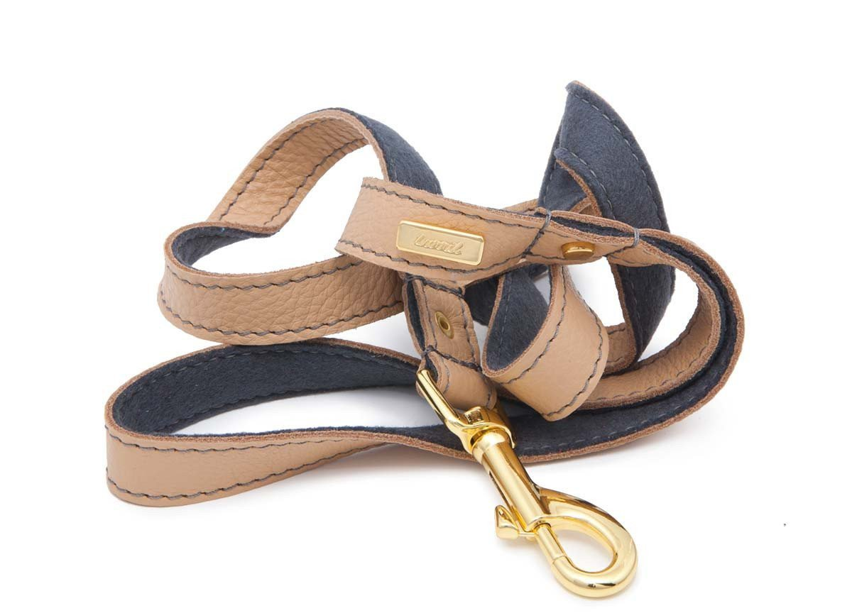 Tan Soft Leather Dog Leash with Soft Wool Lining