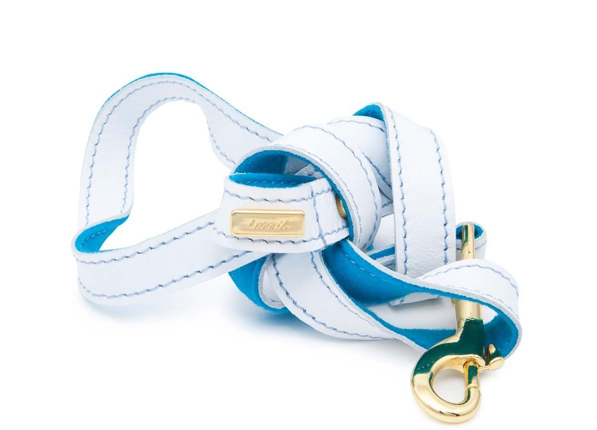 White Leather Dog Leash  - Soft, Durable Leather and Soft Wool Lining