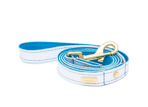 Dog Collar, Leash & Harness in White Soft Leather with Sky Blue Lining