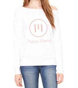 Puppy Mama Stylish Wide Neck Sweatshirt - White (Wholesale Only)