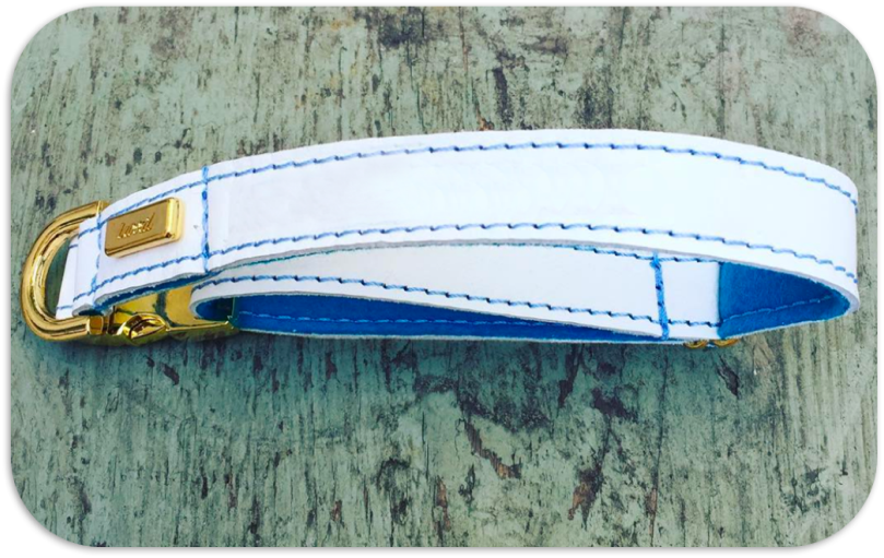 Cocker Spaniel Dog Collar - White soft Leather with Wool Felt Lining