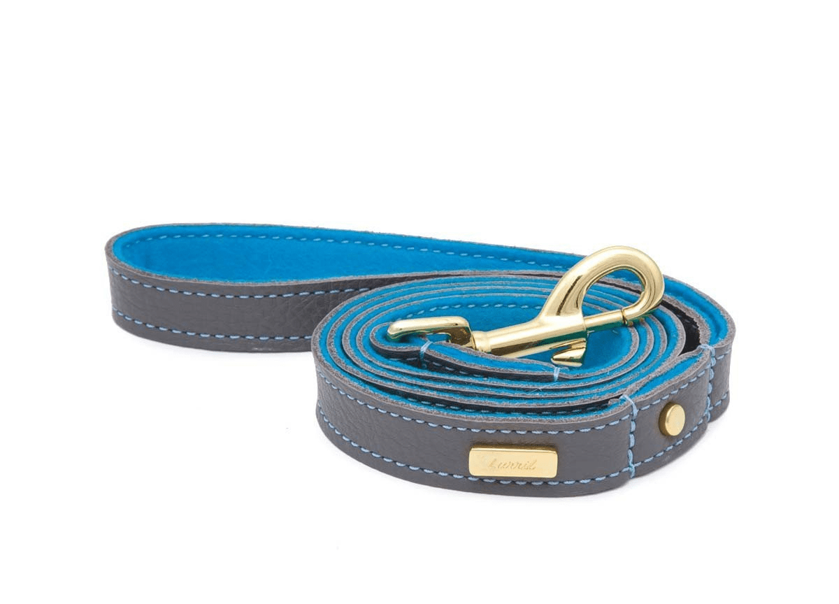 Zinc Soft Leather Dog Leash with Soft Wool Lining