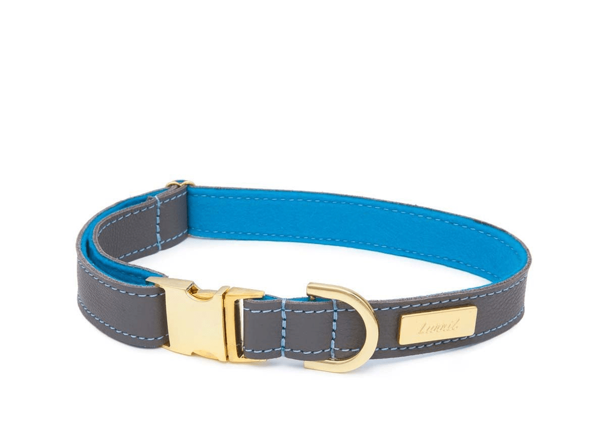 Zinc Soft Leather Dog Collar with Wool Felt Lining