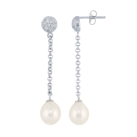Freshwater Pearl Crystal Dangle Earrings for Women