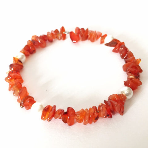 Carnelian Bracelet with Pearls