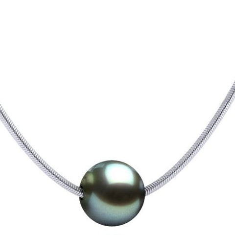Single Floating Peacock Tahitian Pearl Sterling Silver Sneak Necklace