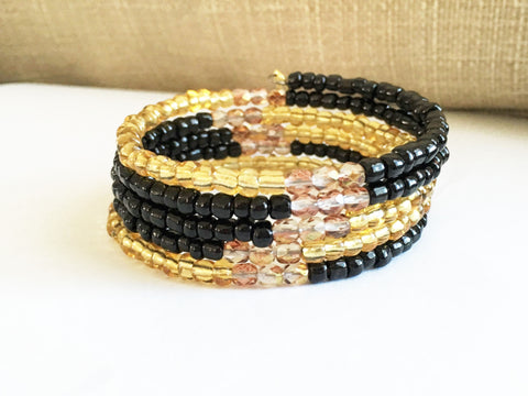 Black gold wrap Memory wire bracelet